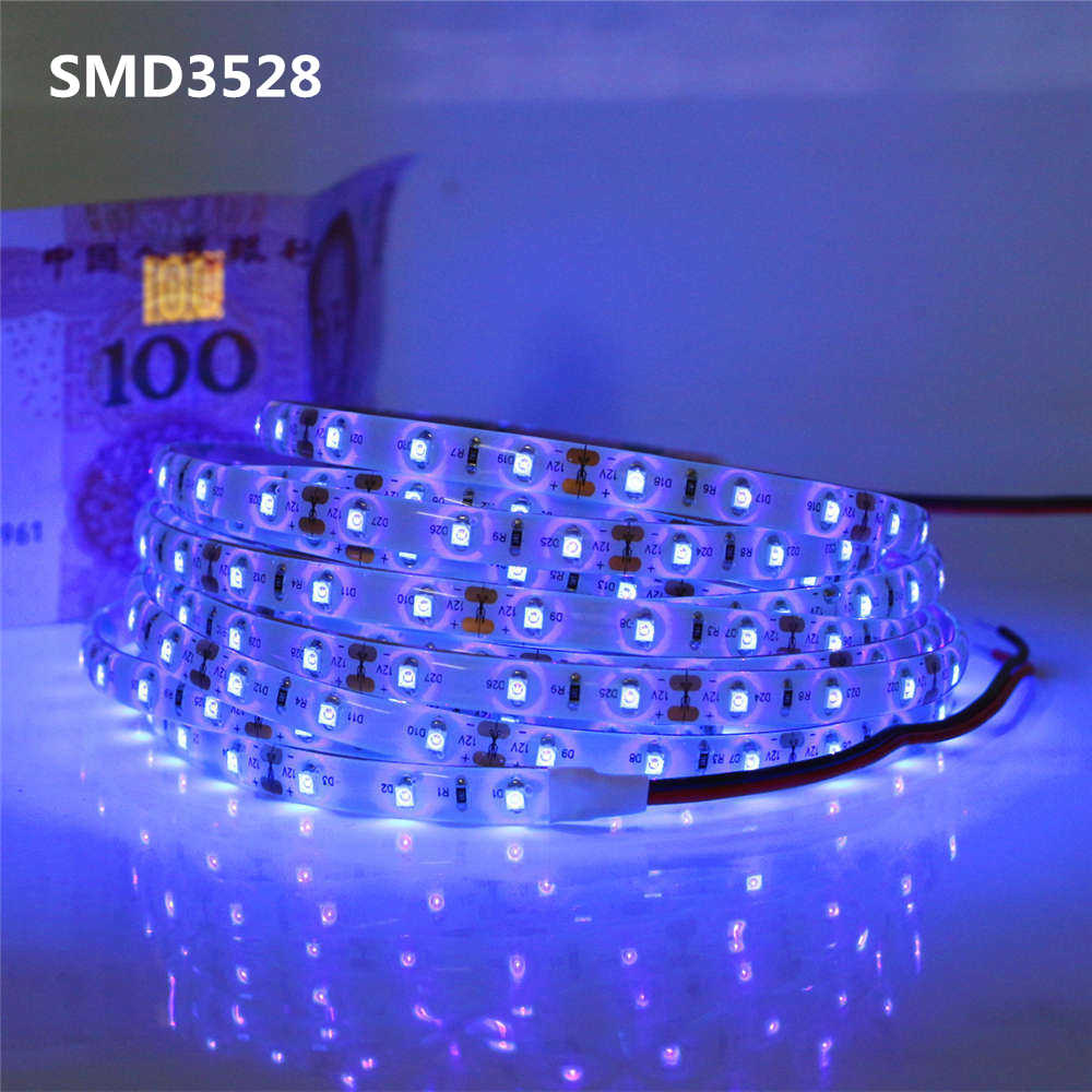 Asmtled 50-500 см DC12V УФ-ультрафиолетового 395-405nm Светодиодные ленты сзади Light 5050 3528 2835 SMD 60leds/m клейкие ленты Лампа для DJ КТВ Бар партия