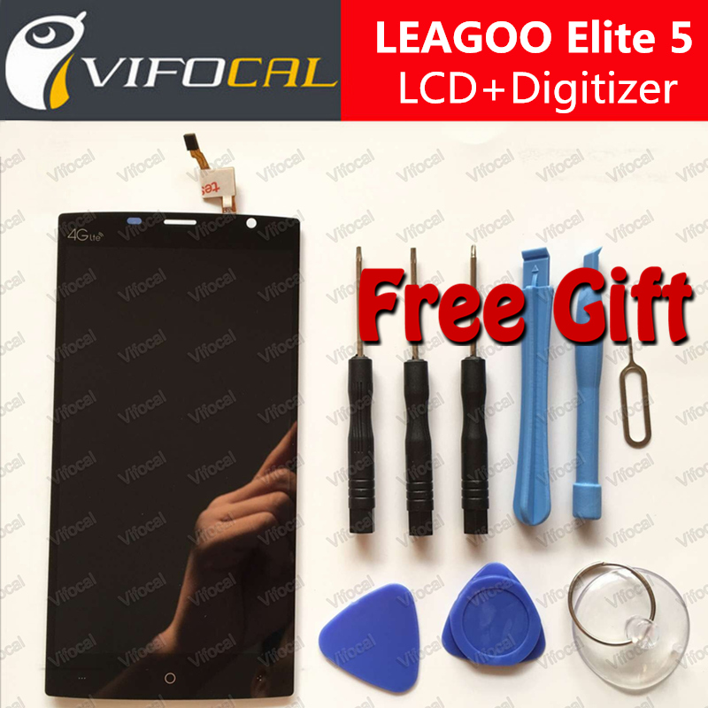 LEAGOO Elite 5 LCD Display + Touch Screen + Tools 100% Original Digitizer Assembly Replacement For LEAGOO Elite 5 Phone - Black
