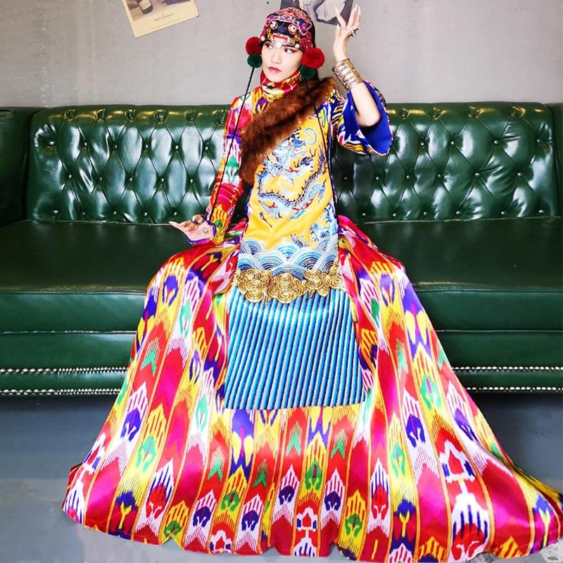 Тибетский стенд искусственный мех воротник вышивка платье с драконом длинными расклешенными рукавами халаты хлопок китайский национальны