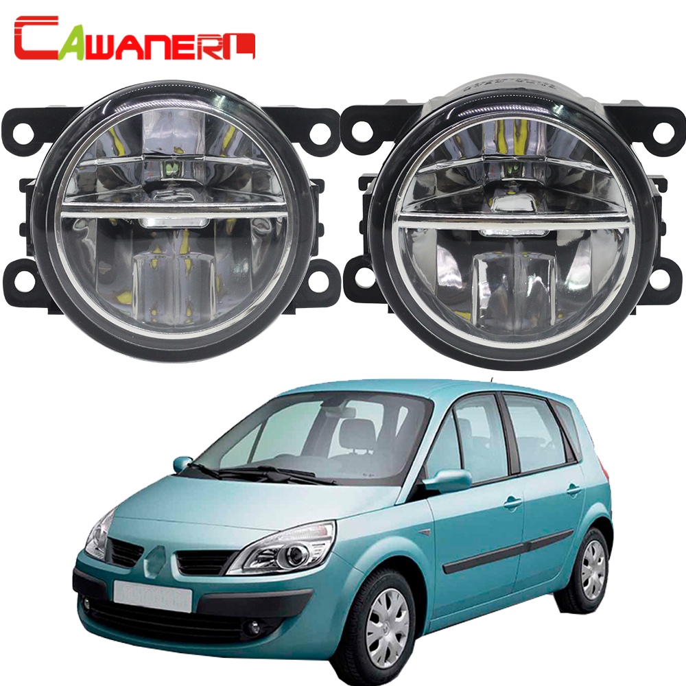 Cawanerl For Renault Scenic 2003-2015 Car LED Fog Light Bulb 4000LM DRL Daytime Running Light 6000K White High Bright 2 Pieces for renault megane 2 saloon lm0 lm1 2003 2015 car styling 6000k white 10w ccc high power led fog lamps drl lights