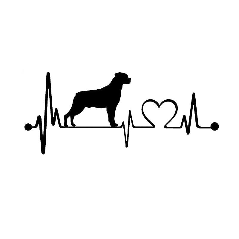 19*8.1CM Rottweiler Heartbeat Lifeline Dog Car Cover Scratches Fashion Cartoon Animal Stickers Decals C6-1144
