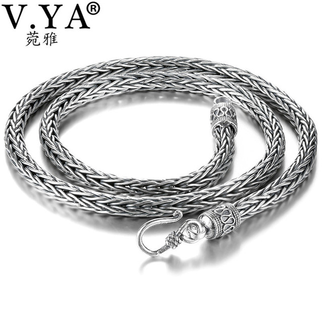V.YA 4/5mm 925 Thai Silver Snake Chain Necklace for Men Male 100% S925 Sterling Silver Chains Men's Jewelry NY034