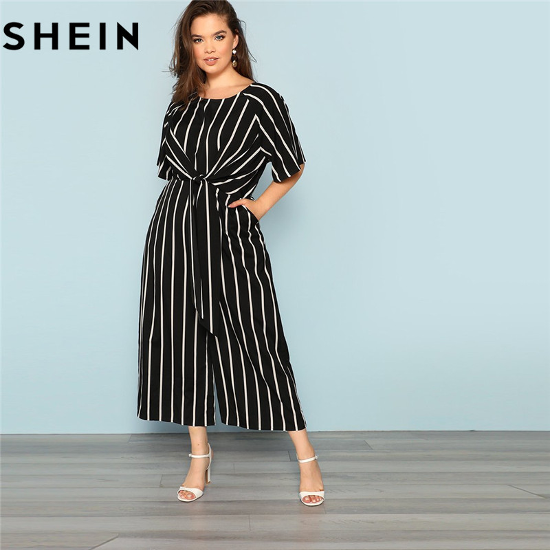 Shein Black And White Striped Raglan Sleeve Plus Size Belted Women Wide Leg Jumpsuits Office Lady O Neck Casual Loose Jumpsuit