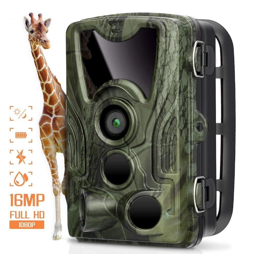 Caméra de chasse caméras de piste 16MP 1080 P IP65 Version nocturne piège Photo 0.3 s déclencheur HC801A Surveillance de la faune 16 GB carte SD