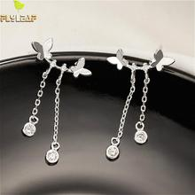 Flyleaf Real 925 Sterling Silver Butterfly Tassel Long Earrings For Women Simple Cubic Zirconia Drop Earings Fashion Jewelry