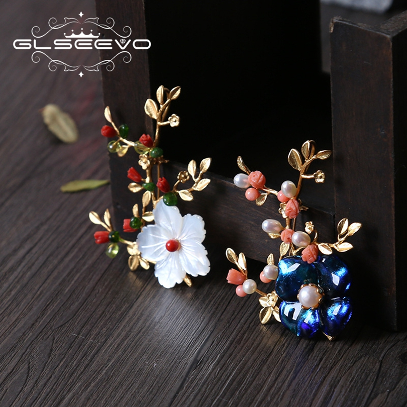 GLSEEVO Natural Mother Of Pearl Glaze Flower Brooch Pins And Brooches For Women Accessories Dual Use Luxury Fine Jewelry GO0178 luxury star crystal rhinestone lapel pins and brooches for women large mother of pearl suit broches bridal wedding jewelry x012