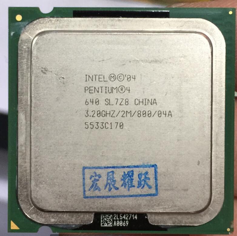 Intel Pentium 4 640 P4 640 3.2 MHZ 2 M 800 Dual-Core CPU LGA 775 100% fonctionne correctement De Bureau Processeur P4 640 processeur
