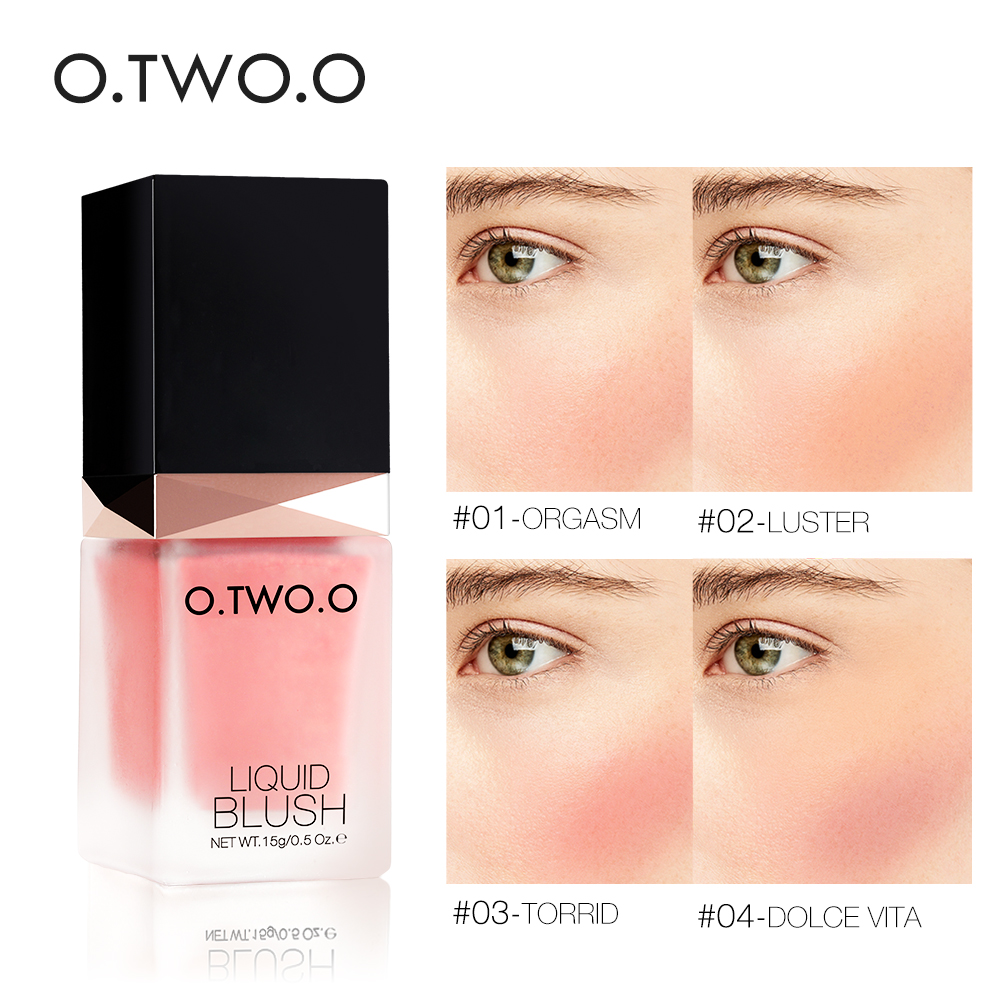 O.TWO.O Makeup Liquid Blusher Sleek Silky Paleta De Blush Color Lasts Long 4 Color Natural Cheek Blush Face Contour Make Up 2018 new focallure smooth glow cheek color blusher palette natural mineral makeup silky blush bronzer powder