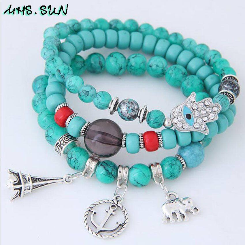 11-1Bohmia Style Women Beaded Bracelets Fashion Ethnic Pendants Girls Bracelets Charm Vintage Female All-Match Accessories