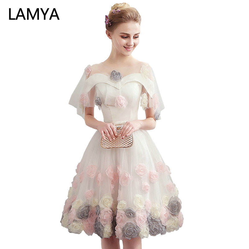 LAMYA Short Appliques Prom Dresses 2019 Elegant Ball Gown Evening Party Dress Organza Fashion Party Formal Gown For Graduation