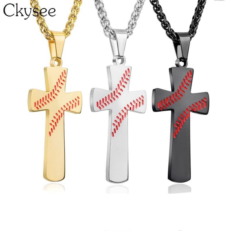Sport Croce Pendenti con gemme e perle Collane di Sport di Baseball di Colore Dorato Cristo Gesù Pendente In Acciaio Inox Collana di Gioielli Religiosi
