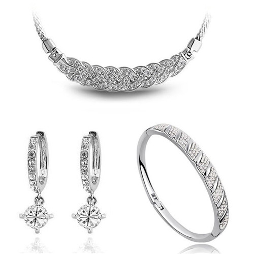 AAAA + steentjes twist ketting oorbel armband mode-sieraden sets - Mode-sieraden - Foto 2