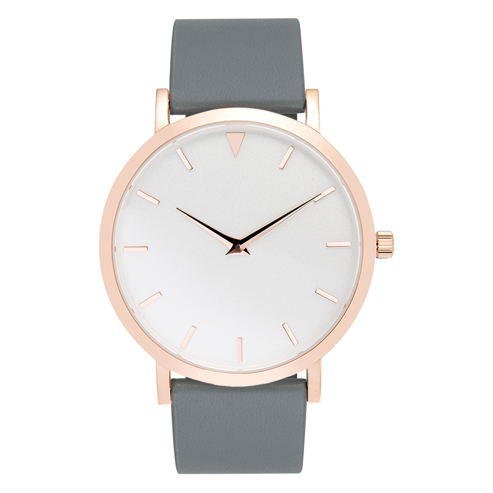 Polished Rose Gold Watches White Face Hours Grey Band