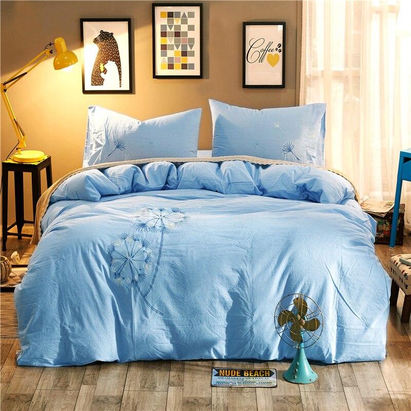 Juego de cama de tamaño Queen King de 4 piezas de bordado verde juego de cama de algodón lavado sábana edredón cubierta/fundas de almohada - 2