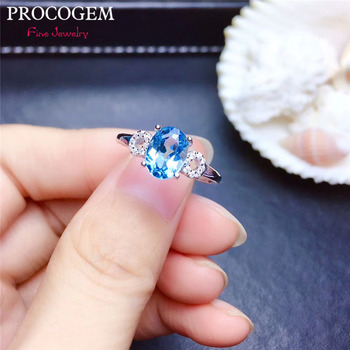 Procogem Trendy Natural Oval Blue Topaz Rings for Women Party gifts 6x8mm Genuine gemstone Fine jewelry 925 Sterling Silver #430