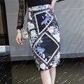 Neophil Plus Size 3XL Retro Floral Tiger Print Fashion Ladies Office Slim Midi Pencil Skirts High Waist Bodycon Wrap Saia S08007