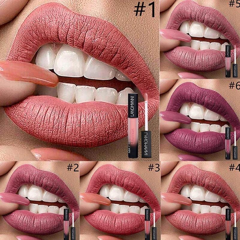 Langmanni Matte Lipgloss Liquid Lipstick 12 Color Waterproof Long Lasting Nude Lip Gloss Beauty Cosmetics Make Up Maquiagem 2