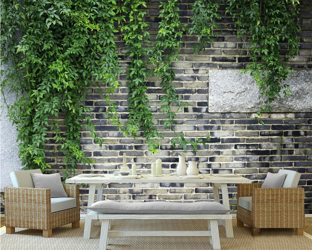 Beibehang Custom wallpaper brick wall green leaves flower ...