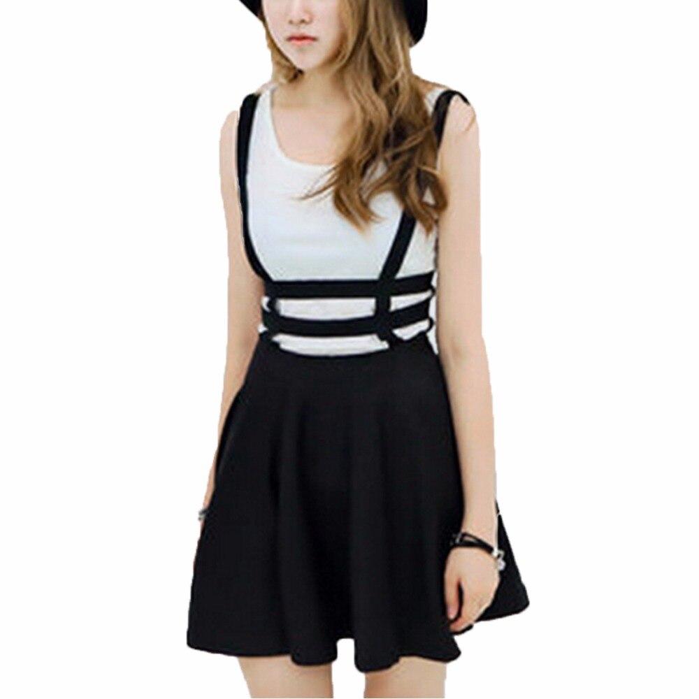 Spring Womens skirt Preppy Style Suspender saia Ruffles Skater Pleated skirt Short women Ball Gown Mini Braces vintage