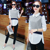 kimono Office Women fake two-piece blouse Doll collar and tops Long sleeve peter pan collar shirt female blusas y camisas mujer