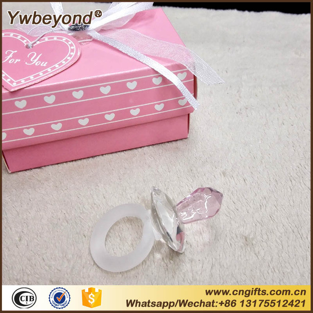 Us 1800 Großhandel 100 Teilelos Kristall Dekoration Von Rosa Kristall Schnuller Baby Shower Favors Für Mädchen Taufe Geschenke Favors In