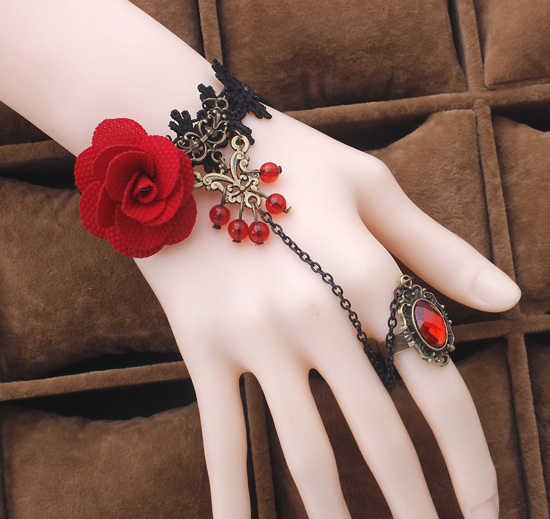 Multi Bangle Slave Chain Link Interweave Finger Rings Hand Harness Bracelets Gold Pulseiras Fashion jewelry red rose flower cane