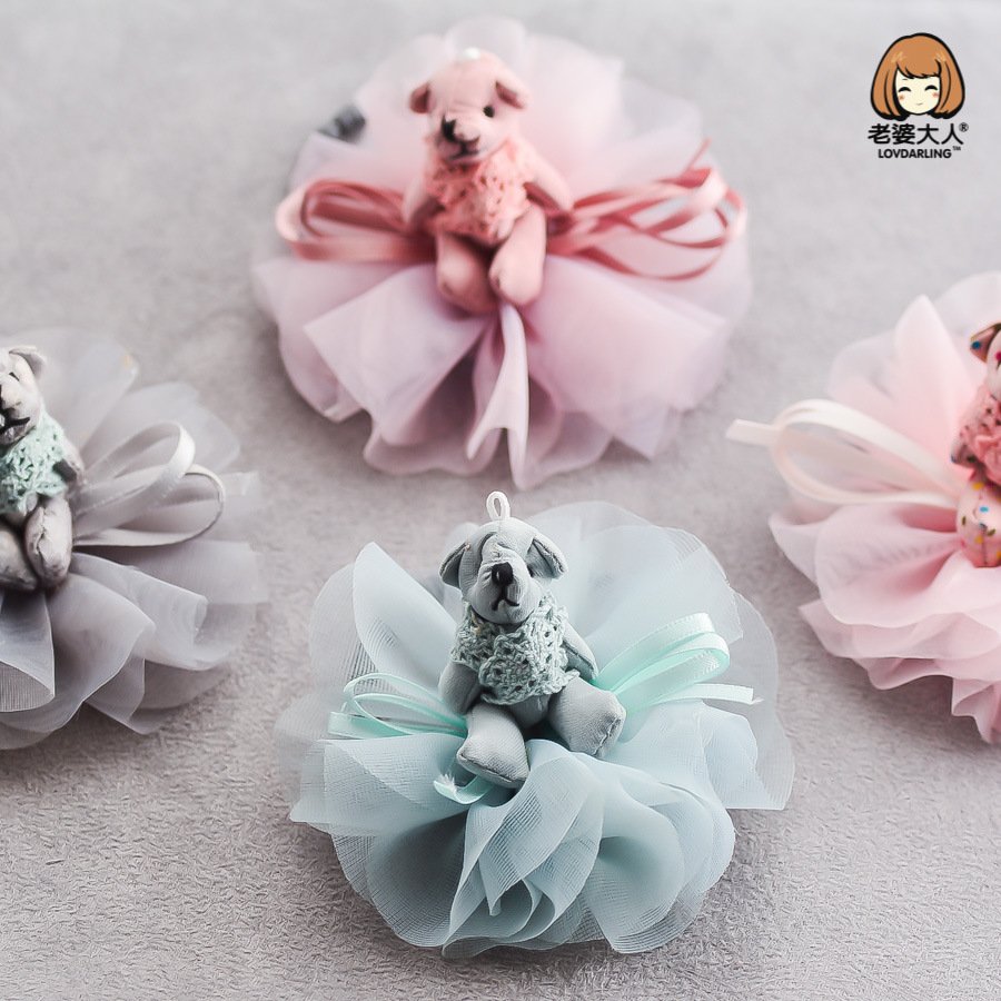 Korea Ribbon Flower Crown Bear Hair Band Cute Hair Accessories lovely Embroidery Headband for Girls Head Band Hair Bow Princess