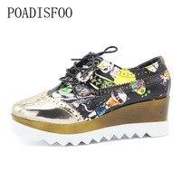POADISFOO 2018 Spring Fashion Square Toei Lace Up Color Blocking Graffiti Platform Shoes Women S Shoes