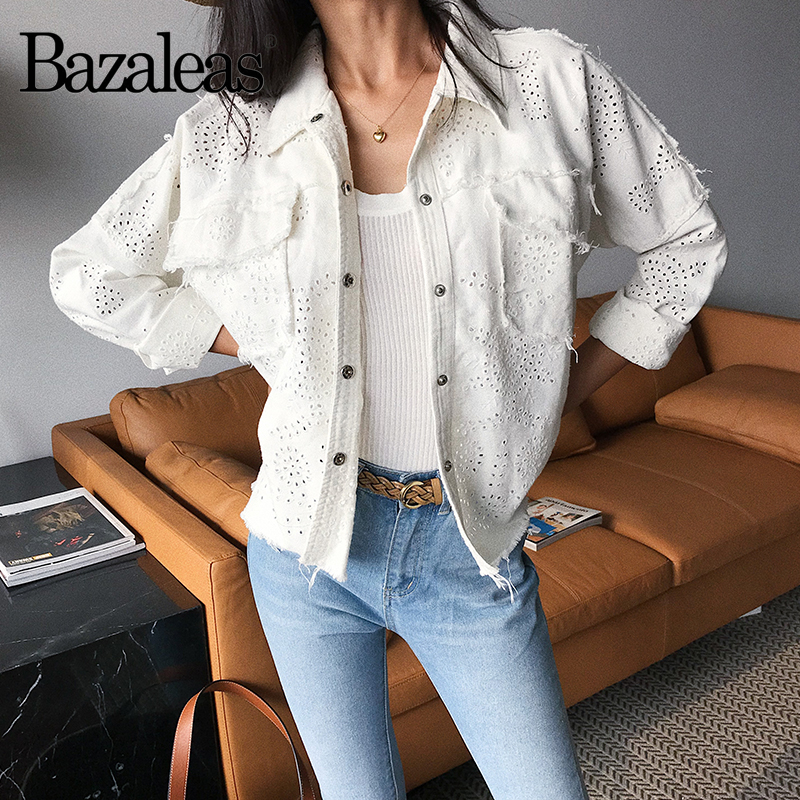 Bouton Denim Bazaleas White Vintage W1579 Manteau Casual Lâche Toutes Les Évider Veste Sélections Harajuku Mode Femmes Vestes Blanc rr0q8