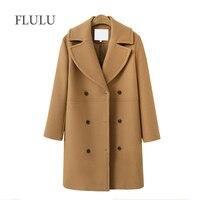 FLULU 2018 autumn winter Fashion women coats Casual Jackets Long Sleeve Blazer Outwear Female Elegant Wool double breasted Coat