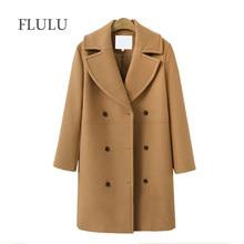 7ba52a07ee28d5 FLULU 2018 herbst winter Mode frauen mäntel Casual Jacken Langarm Blazer  Outwear Weibliche Elegante Wolle zweireiher Mantel