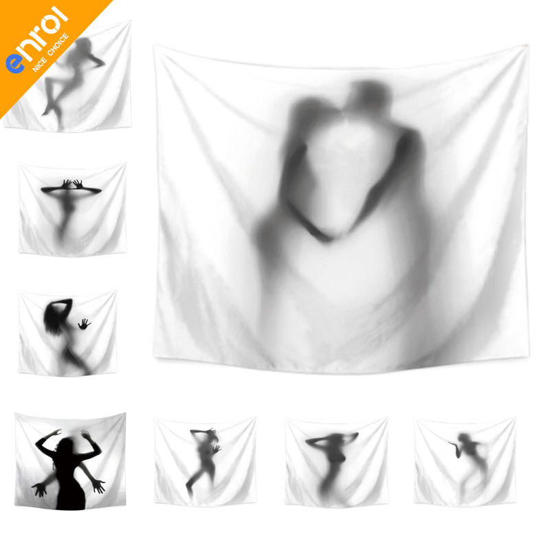Polyester Creativity Sexy Shadow Pattern Wall Cloth Hanging Wedding Party Gift Bedspread Beach Towel Yoga Picnic Mat Tapestry
