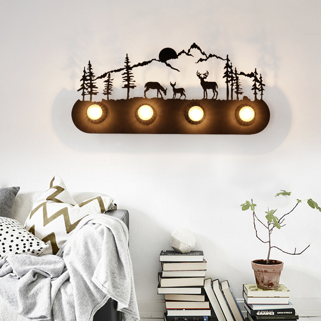 Retro Decorative Creative Wall Lamp Indoor Black Wall Lights For Corridor  Bedroom Living Room Bedside Nordic Part 53