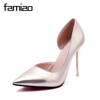 FAMIAO Women Pumps Sexy High Heel Party Mature Pointed Toe Pumps Chaussure Femme Talon 2017 Zapatos