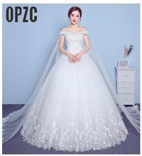 レースアップリケビッグ刺繍ウェディングドレス 2020 新着セクシーなボートネックオフショルダー韓国 plue サイズ vestido デ noiva
