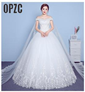 Image 1 - ลูกไม้ Appliques เย็บปักถักร้อยใหญ่งานแต่งงานชุด 2020 ใหม่มาถึงเซ็กซี่เรือคอปิดไหล่เกาหลีพลัสขนาด vestido De noiva
