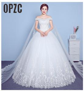 Image 1 - Lace Appliques Big Embroidery Wedding Dress 2020 New Arrival Sexy Boat Neck Off the Shoulder Korean Plue Size vestido de noiva