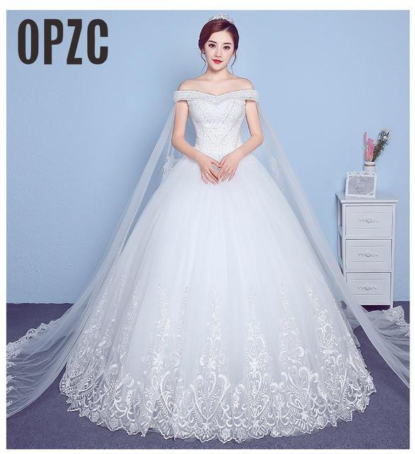 Lace Appliques Big Embroidery Wedding Dress 2020 New Arrival Sexy Boat Neck Off the Shoulder Korean Plue Size vestido de noiva