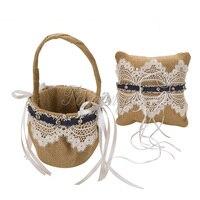 2Pcs Set Burlap Hessian Lace Ring Pillow Cushion Girls Flower Basket Garter Decoration Wedding Set Bridal