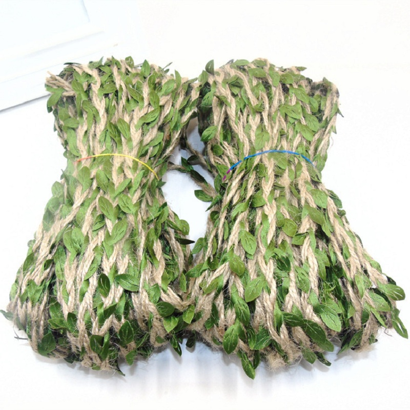 2M 5M Jute Ivy Rattan Artificial Silk Green Leaves Jute Rope DIY Leaf Garland For Wedding Home Party Wall Decoration Fake Plant