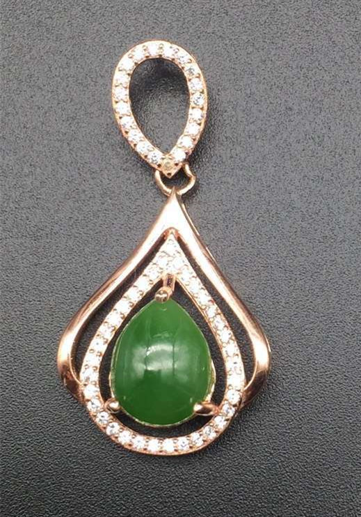 natural green jasper pendant S925 silver Natural jade Pendant Necklace trendy elegant Water droplets women party jewelry