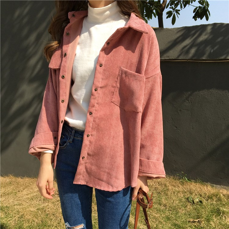 2 Colors 2018 Autumn Women Loose Jackets Korean Long Sleeve Solid Jackets Outwear Casual Pocket Corduroy Jackets