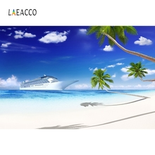 Laeacco Summer Beach Tropical Palm Tree Blue Sky Photography Backgrounds Photographic Backdrops For Photo Studio