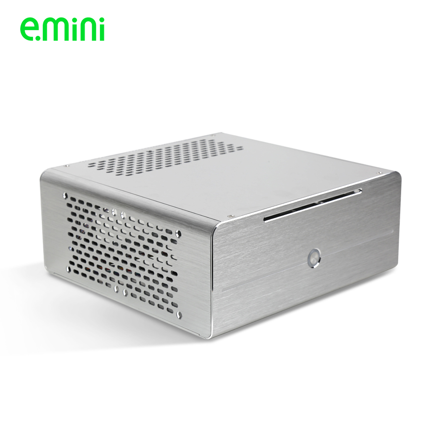 купить Realan aluminum mini itx desktop pc case E-i7 with power supply, CD-ROM, slots black silver по цене 4119.71 рублей