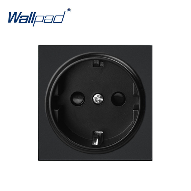Wallpad Luxury EU German Socket Electric Outlet Function Key For Wall White And Black Plastic Module Only