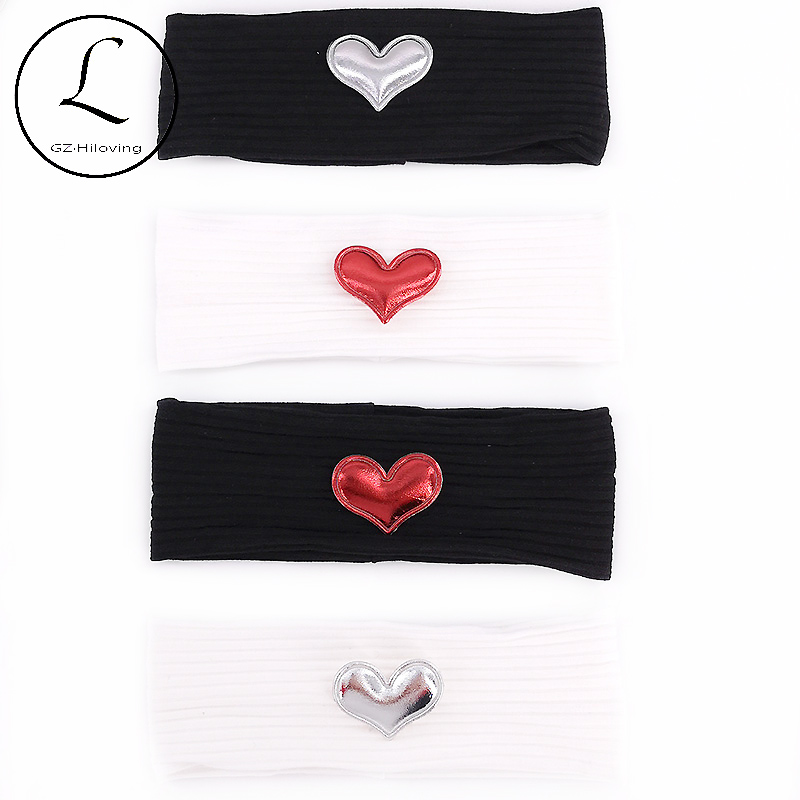 Soft Newborn Baby Girls Heart Patch Cotton Headbands Baby Summer Stretch Ribbed Head Wrap Turban Hair Accessories New Born Gifts