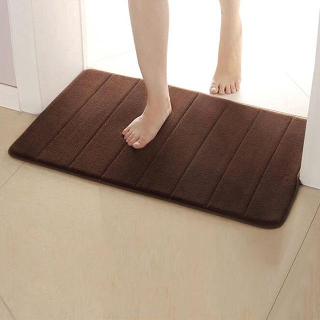 Memory Foam Bath Mats Bathroom Carpet Bathroom Horizontal Stripes Rug Non-slip Toilet Bathroom Rug Toilet Mat Doormat