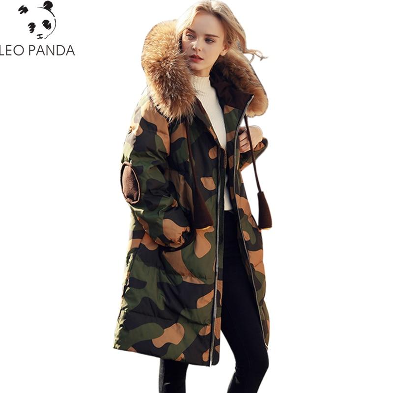 Hiver Real Collar Ouatée Parkas Plus Éclair Wq513 Haute 2017 Coton Camo Longue Manteau Faux Taille La Mode Femmes Veste Chaud Fur De Dames camo Rembourré Fermeture New Qualité Collar p88wqCf5x