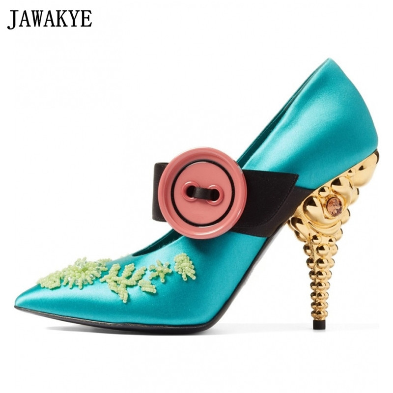 JAWAKYE Spring Shallow Shoes Women Pumps candy Color Button Shoes string Beaded gold silver high Heels