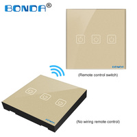 BONDA EU/UC The smart home touch switch induction type non woven wire is randomly attached to the toughened glass panel through